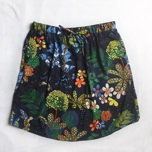 LOFT A-line Floral Bird Print Skirt
